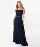 Navy Blue Chiffon Off The Shoulder Long Dress