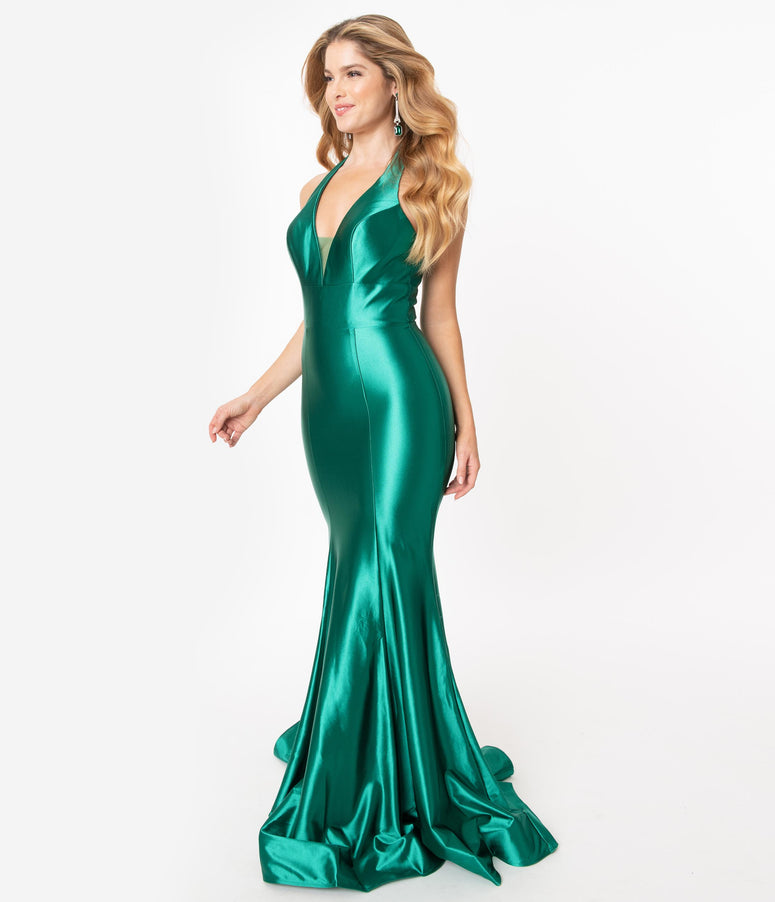 Emerald Satin Halter Fitted Formal Gown