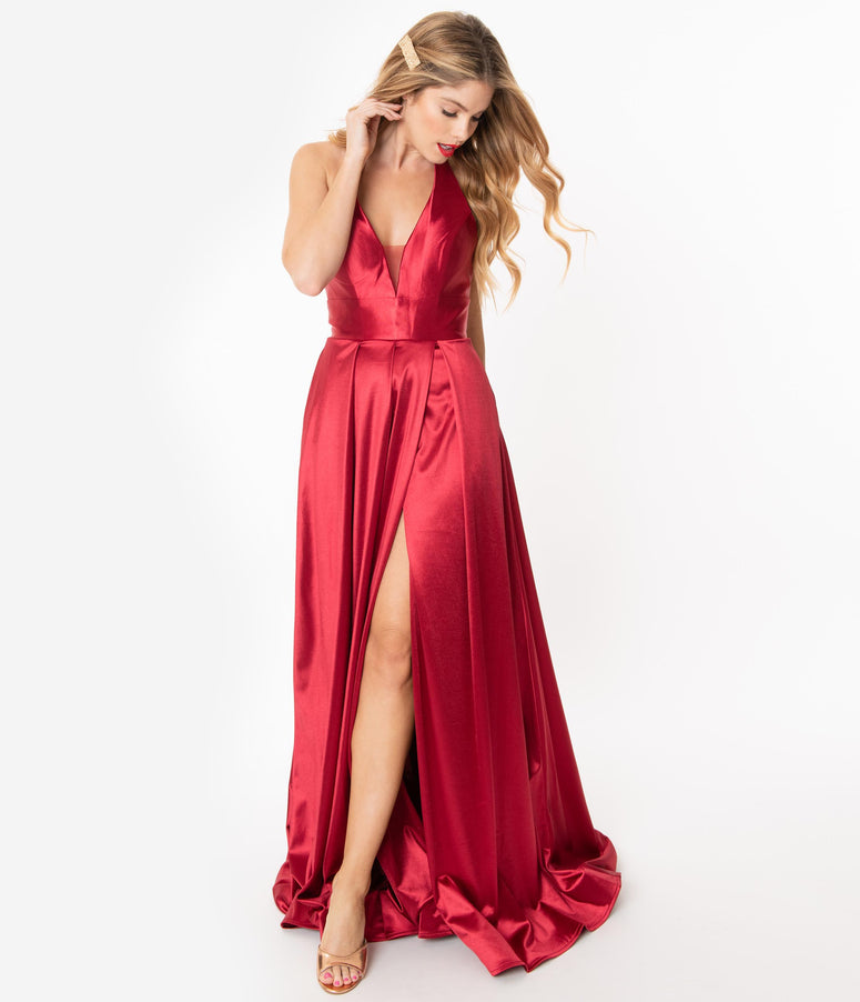 Burgundy Satin Halter Evening Gown