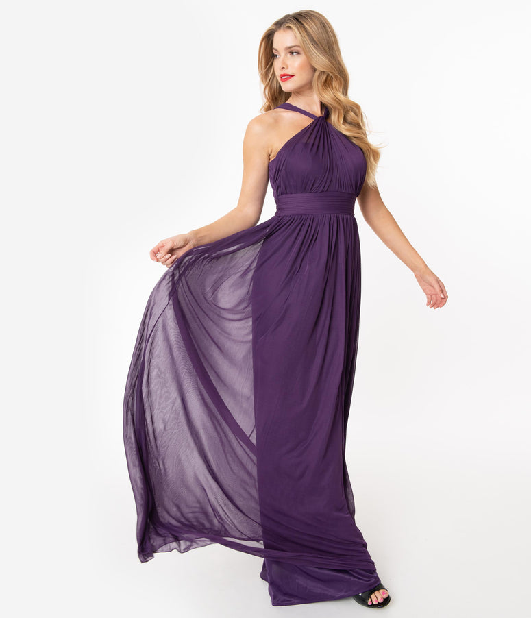 Eggplant Halter Mesh Chiffon Long Dress