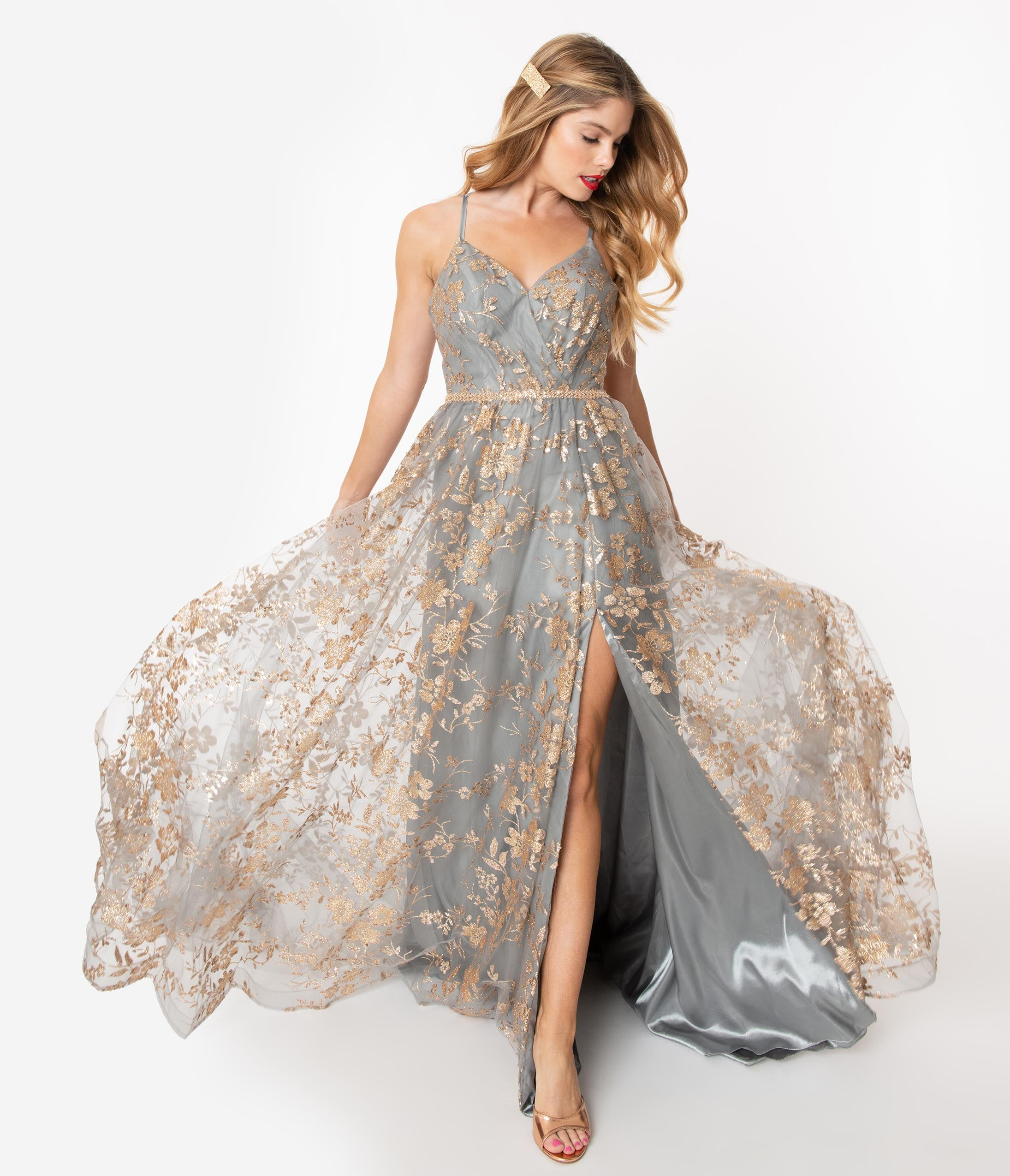 1950s History of Prom, Party, and Formal Dresses Charcoal Grey  Gold Floral Sparkle Gown $188.00 AT vintagedancer.com