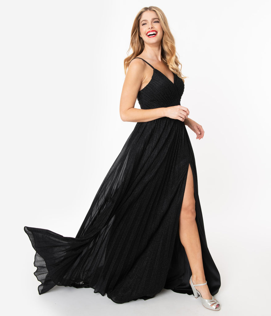 Black Sparkle Pleated Long Gown