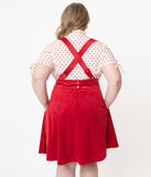 Unique Vintage Plus Size 1960s Red Suspender Ruth Flare Skirt