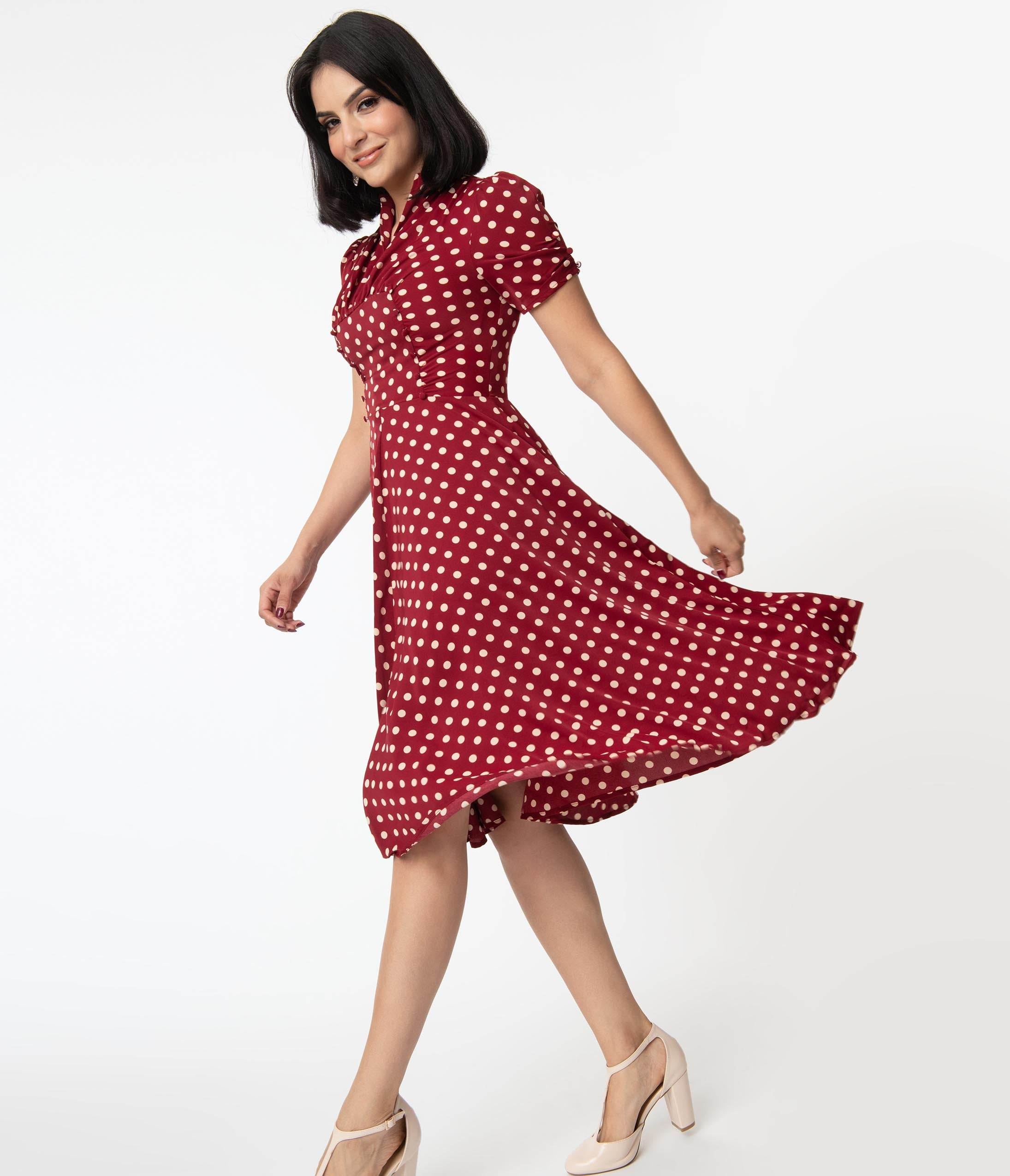 1940s Fashion Advice for Tall Women Unique Vintage 1940S Red  Cream Dot Camilla Midi Dress $78.00 AT vintagedancer.com