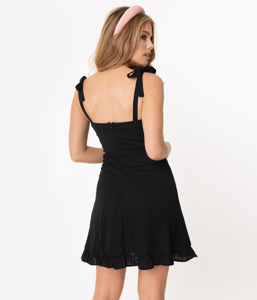 1960s Style Black Ruffle Fit & Flare Dress