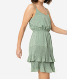 Dusty Sage Fit and Flare Tiered Spaghetti Strap Dress