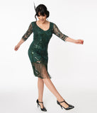 Unique Vintage Emerald Sequin Margaux Flapper Dress