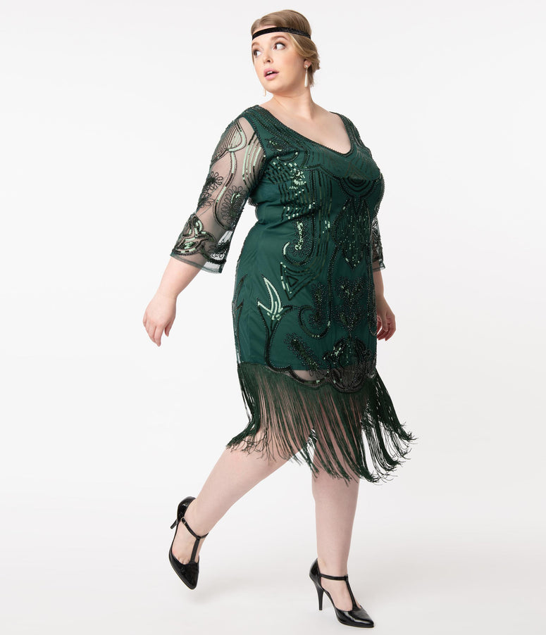 Unique Vintage Plus Size Emerald Sequin Margaux Flapper Dress