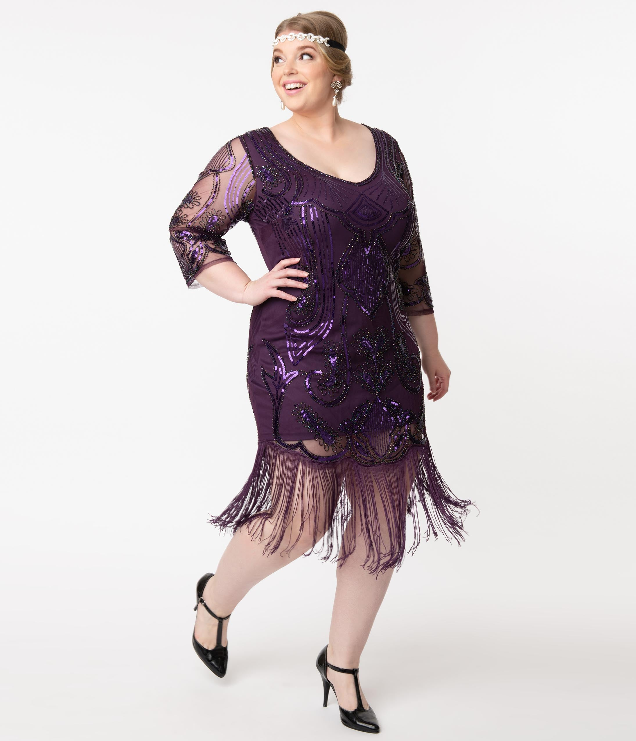 1920s Plus Size Flapper Dresses, Gatsby Dresses, Flapper Costumes Unique Vintage Plus Size Purple Sequin Margaux Flapper Dress $110.00 AT vintagedancer.com