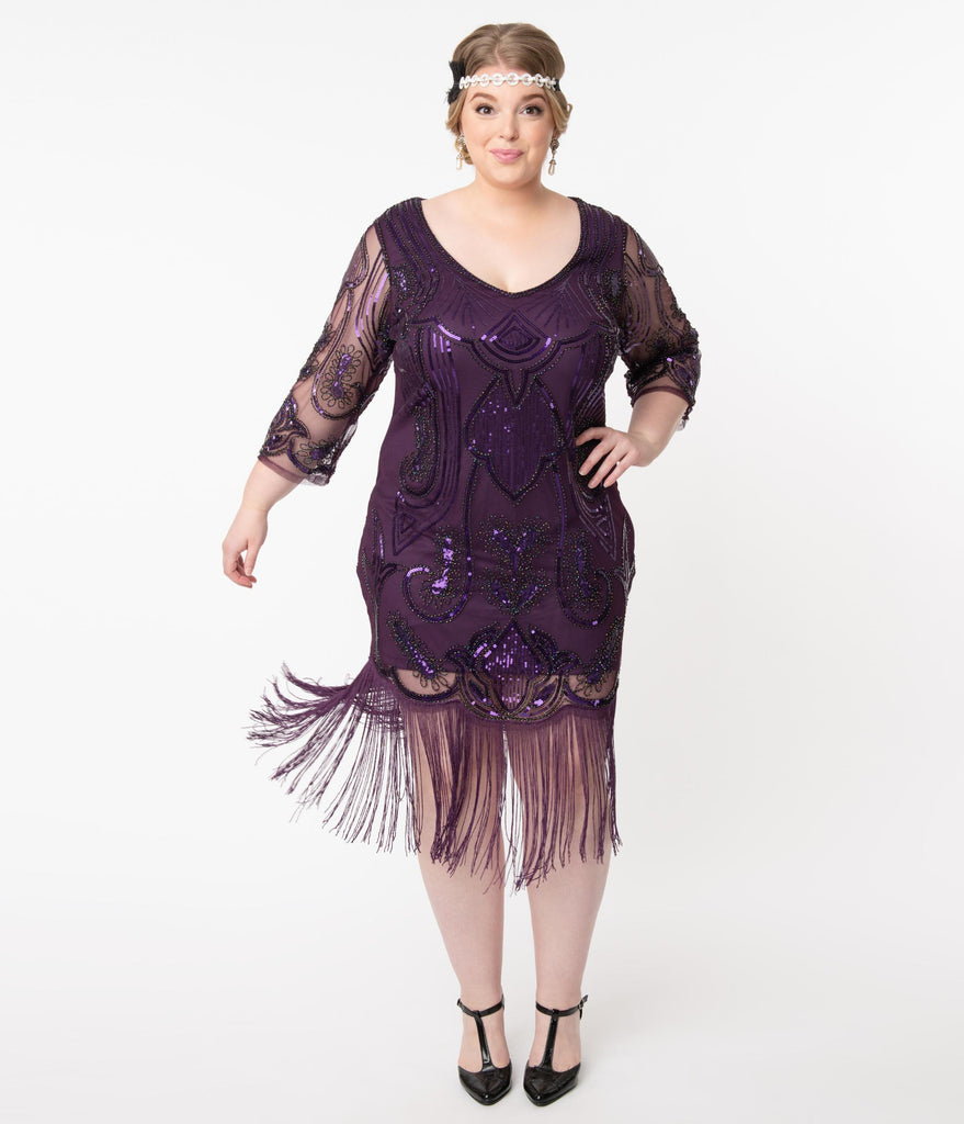 Unique Vintage Plus Size Purple Sequin Margaux Flapper Dress