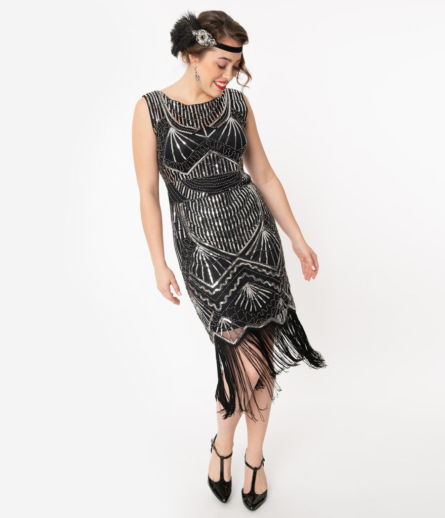 Unique Vintage Black & Silver Sequin Therese Long Flapper Dress