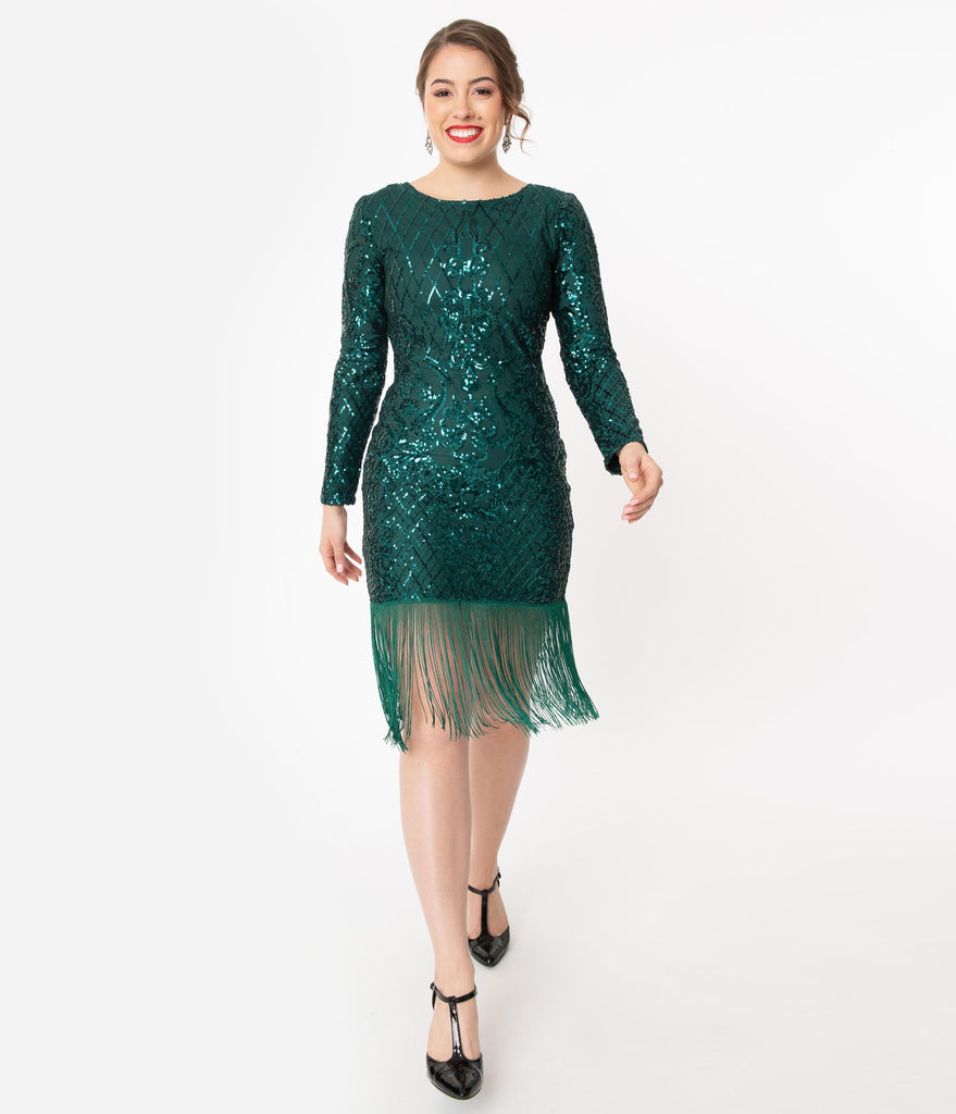 Unique Vintage 1920s Emerald Sequin Emillion Flapper Dress