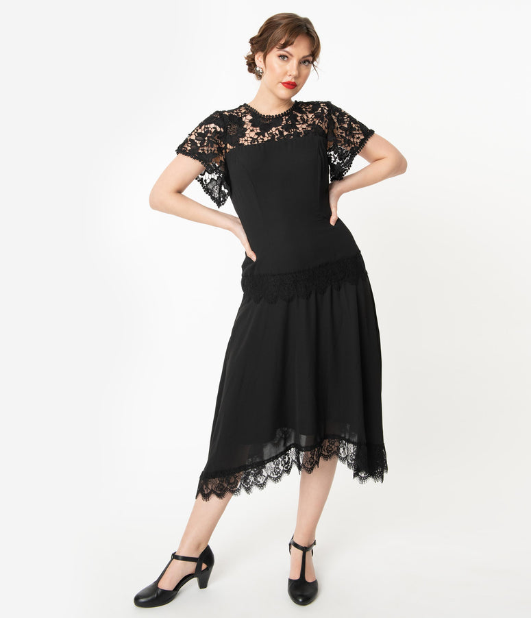 Unique Vintage 1920s Black Lace Marmande Flapper Dress