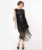 Unique Vintage Black Floral Sequin Bayonne Fringe Flapper Dress