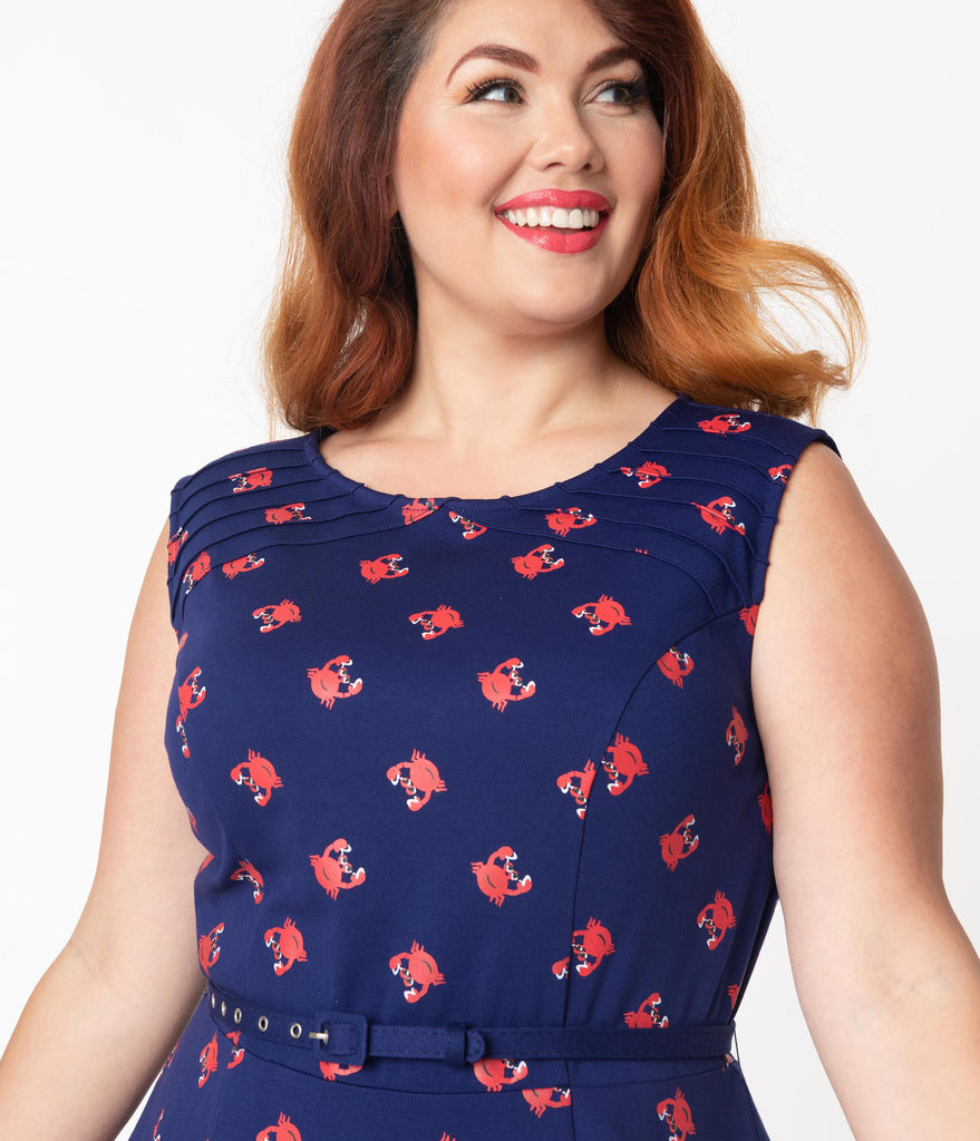 Unique Vintage Plus Size Navy & Red Crab Print Kacey Fit & Flare Dress