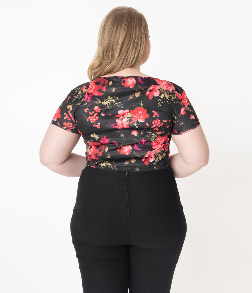 Unique Vintage Plus Size 1950s Black & Red Floral Sweetheart Rosemary Top