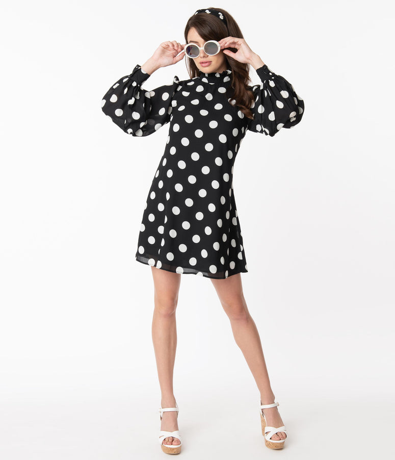 Smak Parlour Black & White Polka Dot Girl Talk Shift Dress