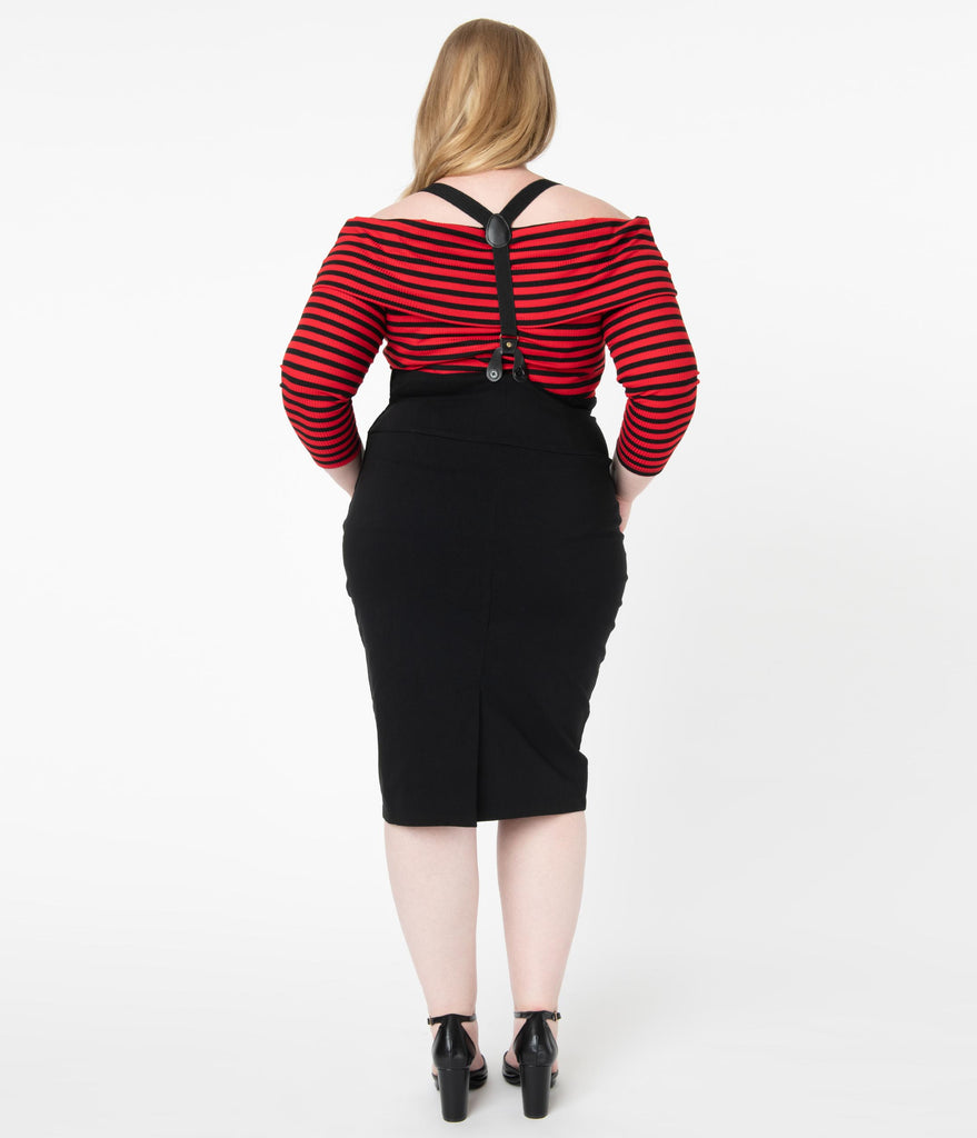 Unique Vintage Plus Size Black Beatrice Suspender Wiggle Skirt