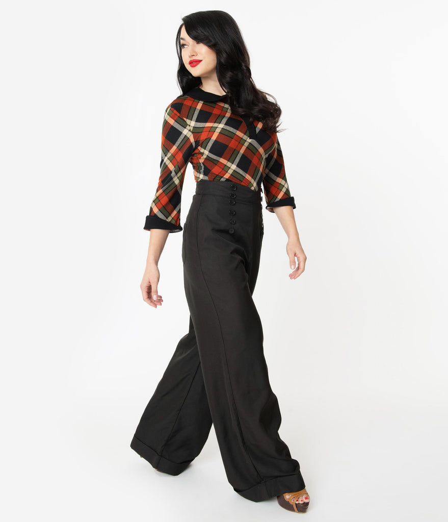 Unique Vintage 1960s Black Garland Pants
