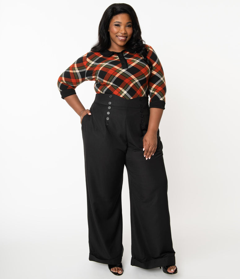 Unique Vintage Plus Size 1960s Black Garland Pants
