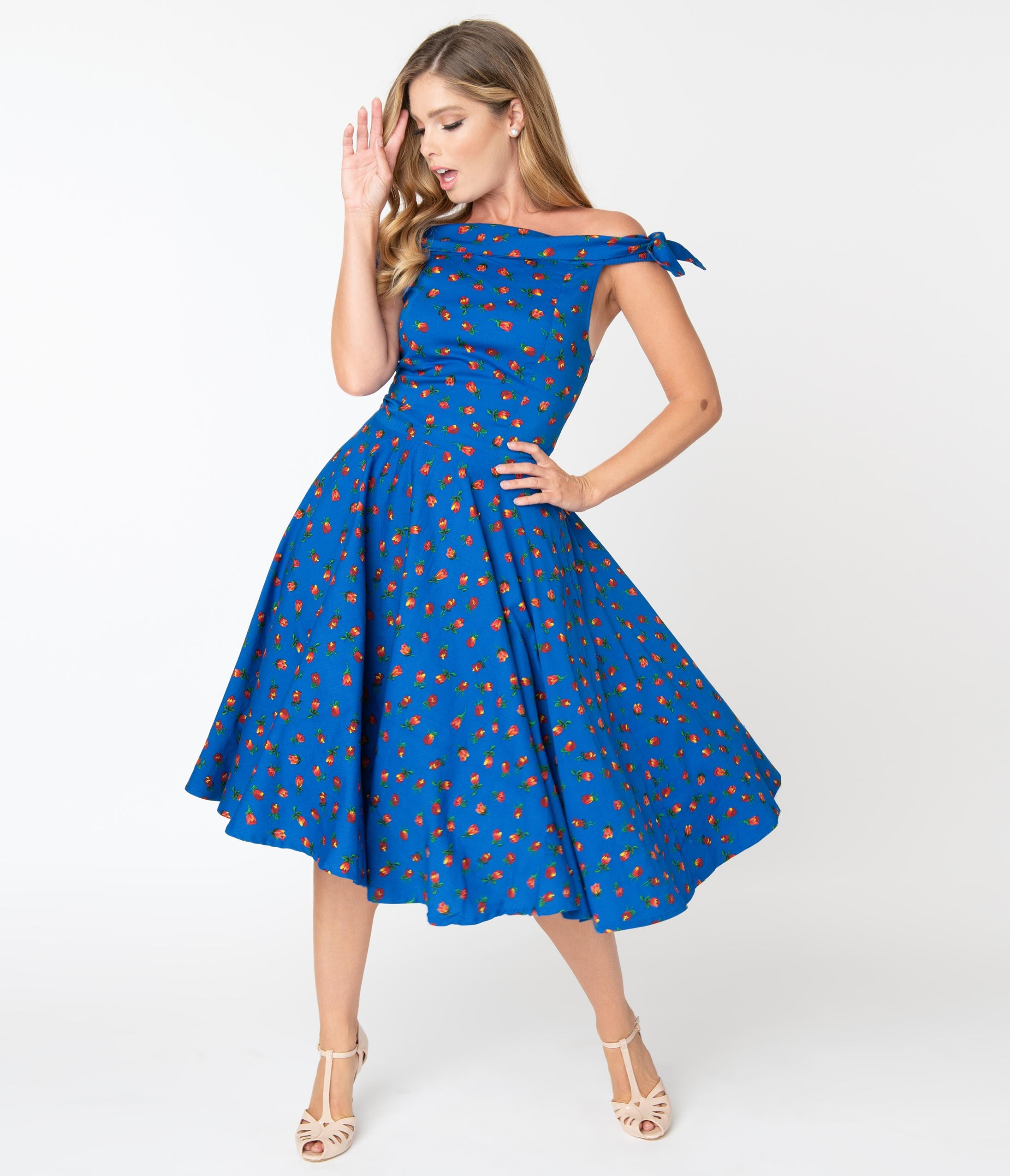 1950s Dresses, 50s Dresses | 1950s Style Dresses 1950S Style Blue  Red Floral Jessica Swing Dress $92.00 AT vintagedancer.com