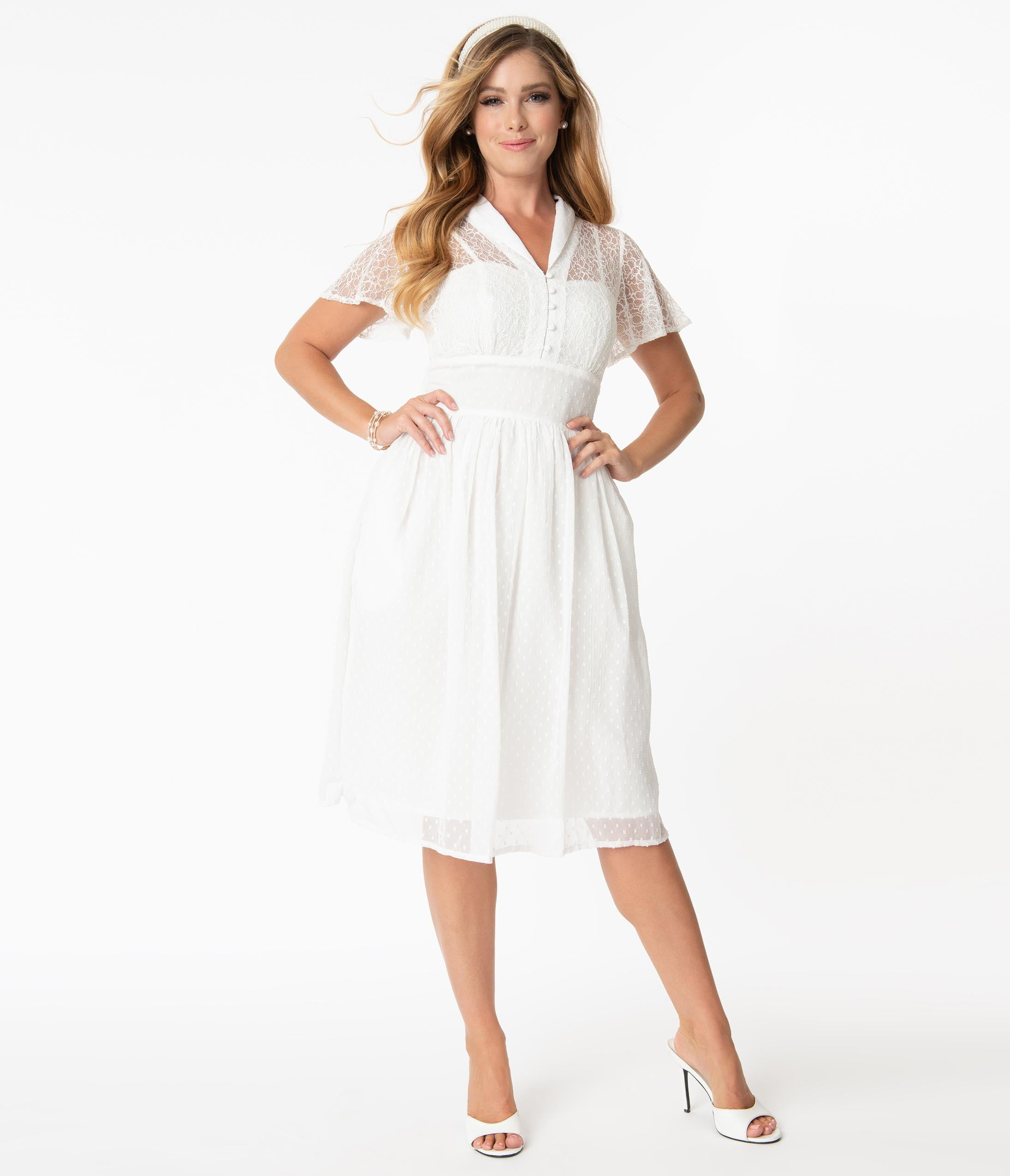Swing Dance Clothing You Can Dance In Vintage Style White Lace  Flocked Naomi Swing Dress $92.00 AT vintagedancer.com