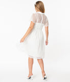 Vintage Style White Lace & Flocked Naomi Swing Dress