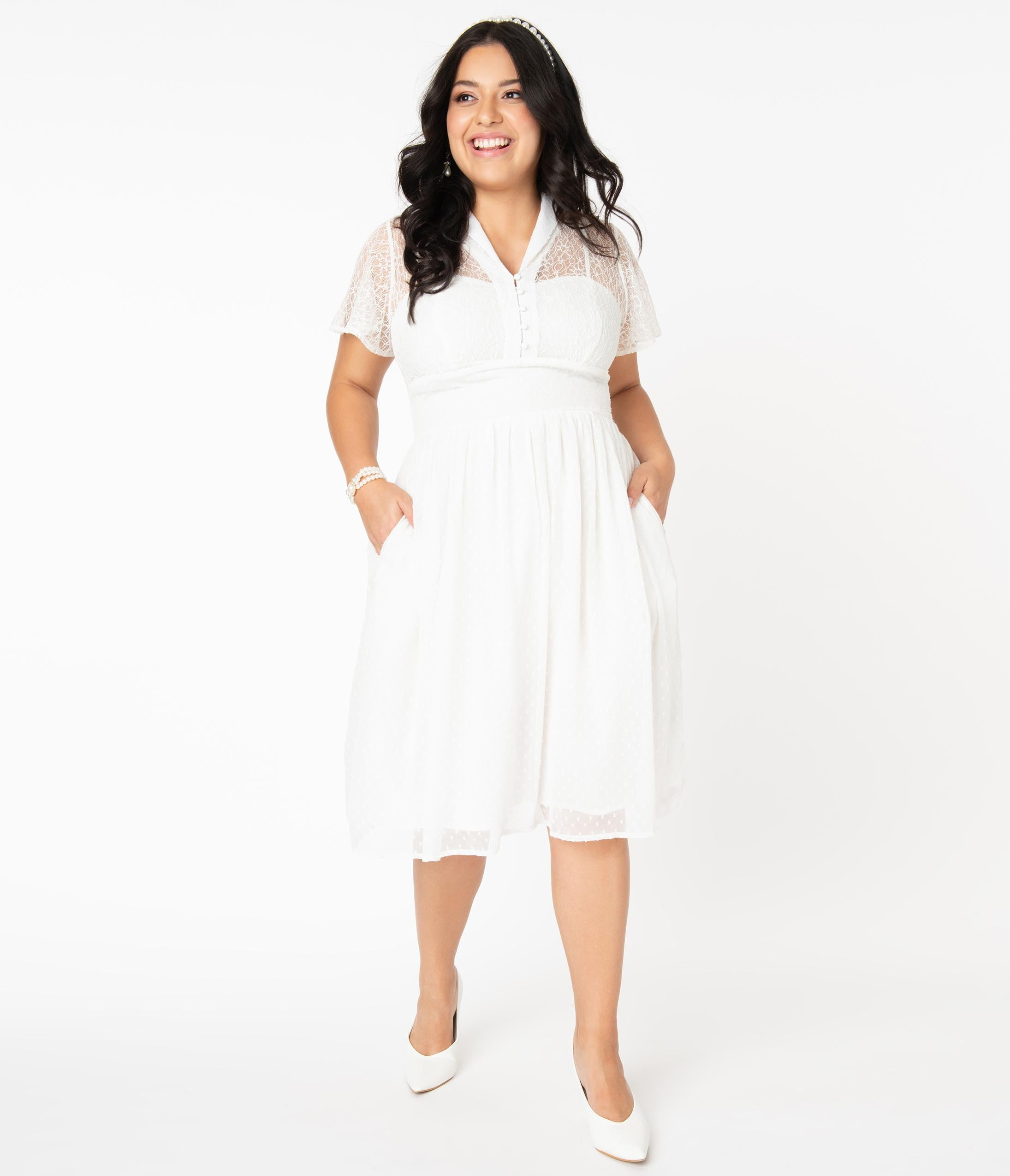 Swing Dance Clothing You Can Dance In Plus Size Vintage Style White Lace  Flocked Naomi Swing Dress $92.00 AT vintagedancer.com