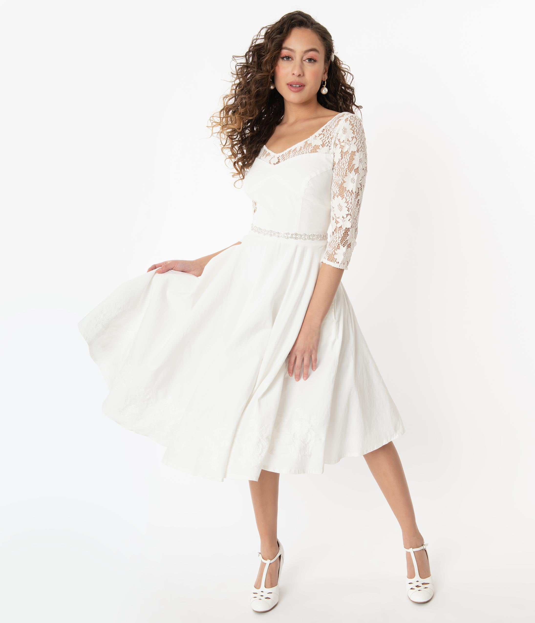 What Did Women Wear in the 1950s? 1950s Fashion Guide 1950S Ivory Lace Sky Bridal Swing Dress $92.00 AT vintagedancer.com