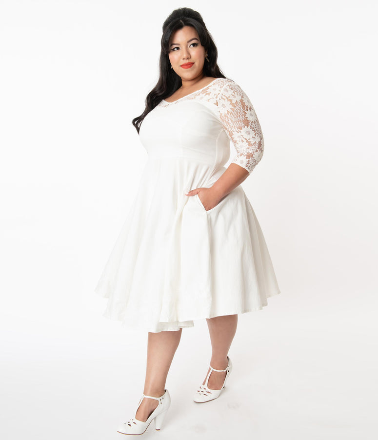 Plus Size 1950s Ivory Lace Sky Bridal Swing Dress