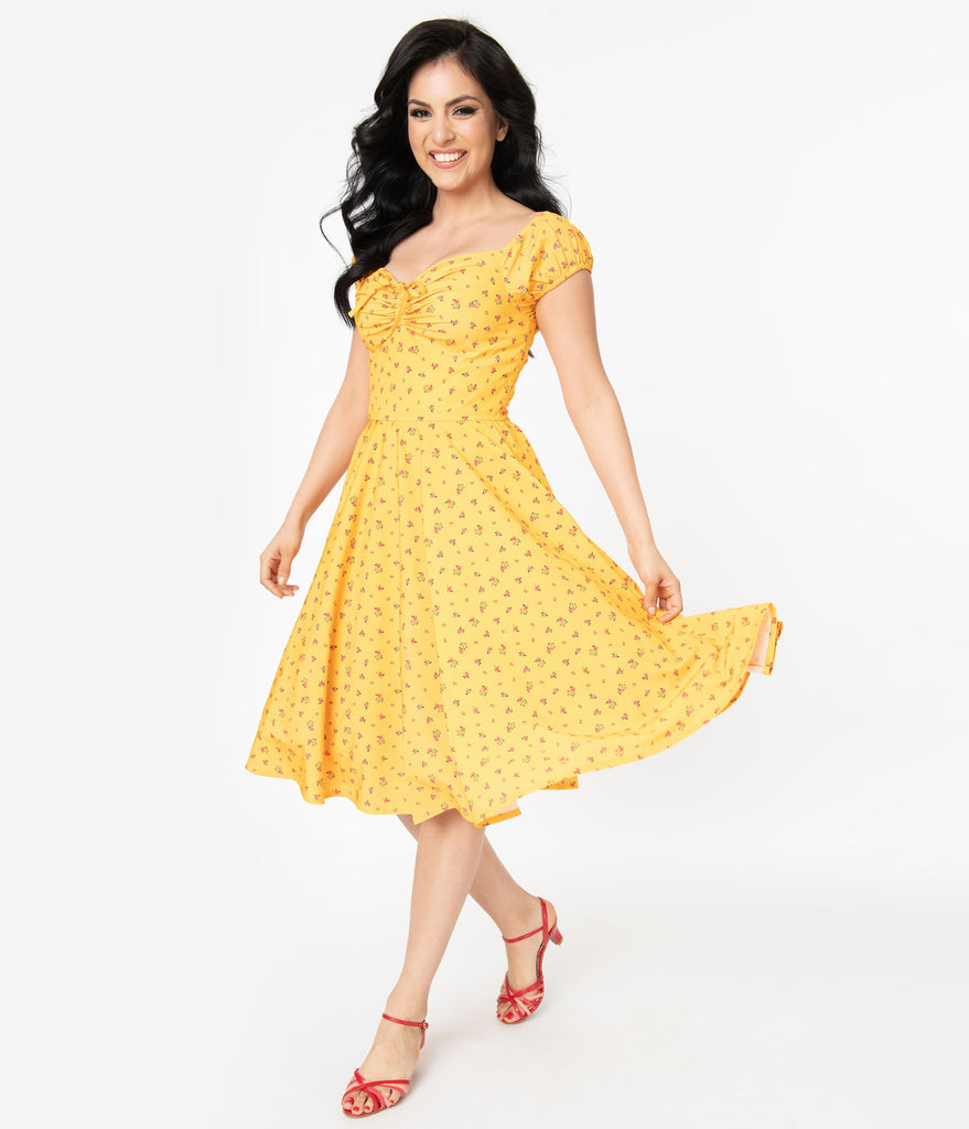 Retro Style Golden Yellow Floral Swing Dress