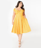 Plus Size Retro Style Golden Yellow Floral Swing Dress