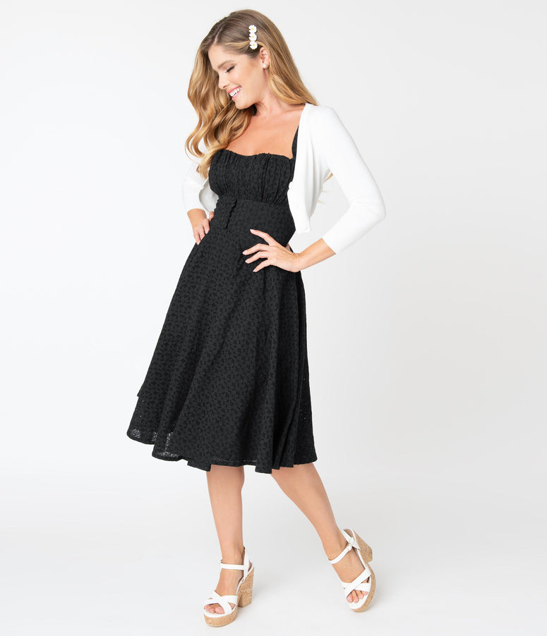 Vintage Style Black Eyelet Bianca Swing Dress