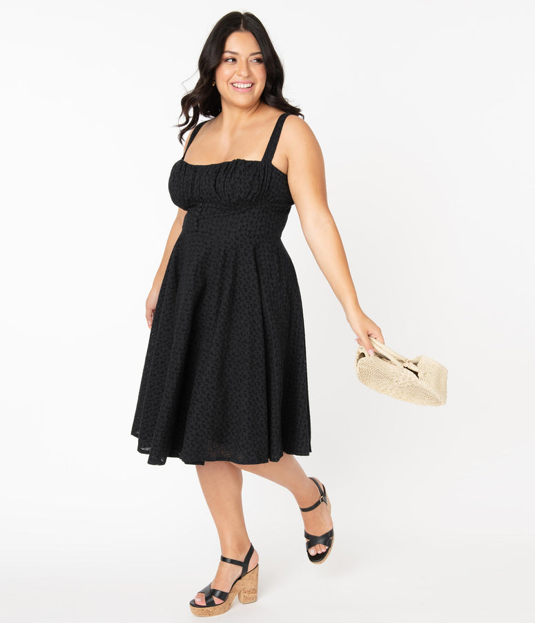 Plus Size Vintage Style Black Eyelet Bianca Swing Dress