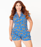 Plus Size Retro Style Blue & Leopard Print Destiny Playsuit