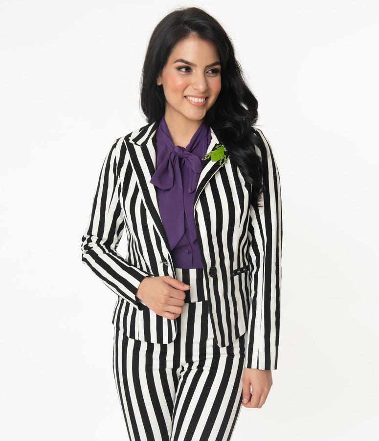 Beetlejuice x Unique Vintage Black & White Stripe Jagger Suit Jacket