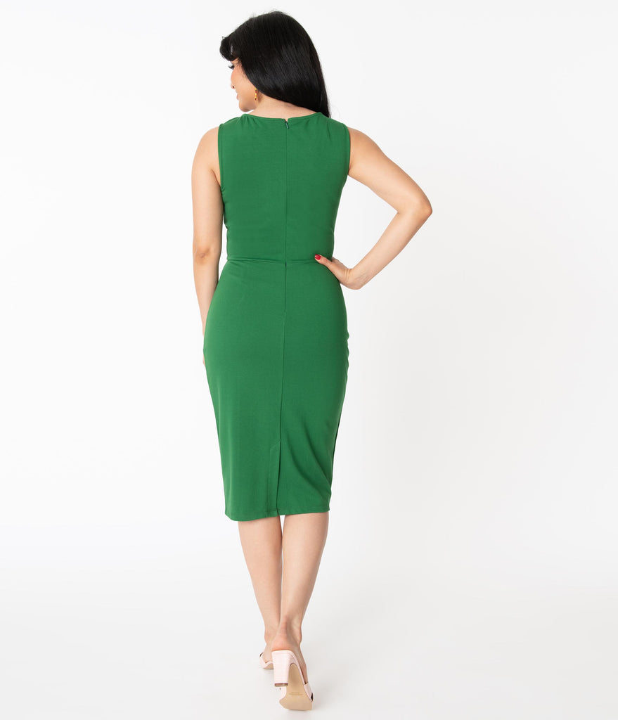 Unique Vintage 1960s Green Davenport Wiggle Dress