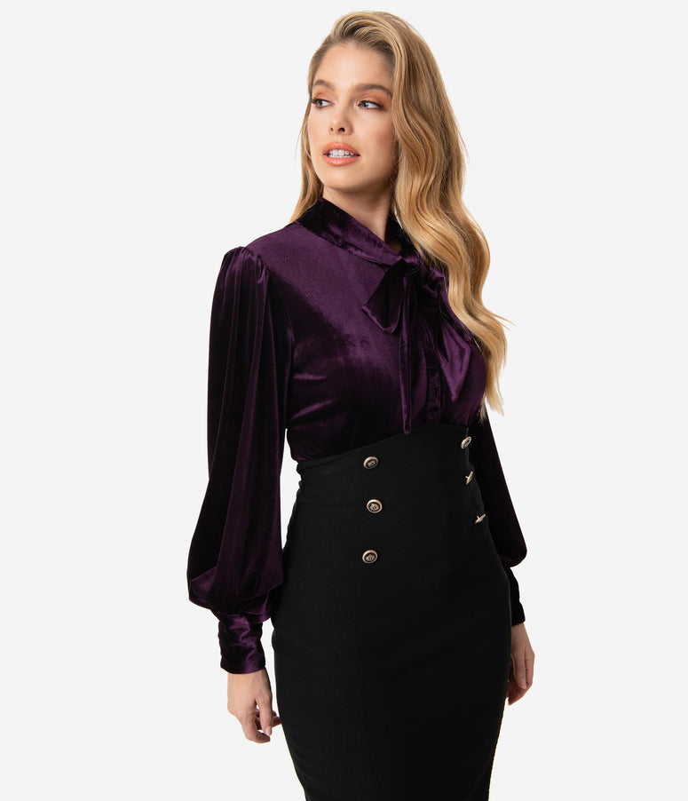 Unique Vintage Dark Purple Velvet Gwen Blouse