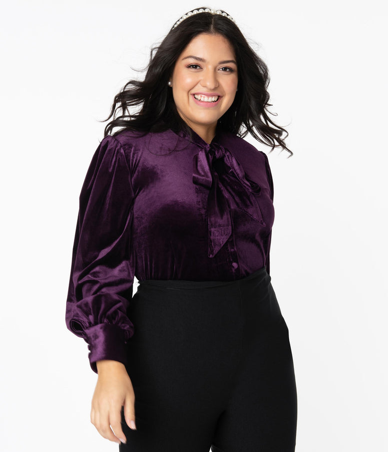 Unique Vintage Plus Size Dark Purple Velvet Gwen Blouse