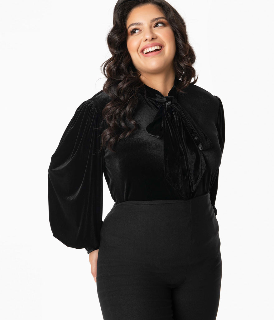 Unique Vintage Plus Size Black Velvet Gwen Blouse