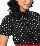 Unique Vintage Black & White Polka Dot Colvin Blouse