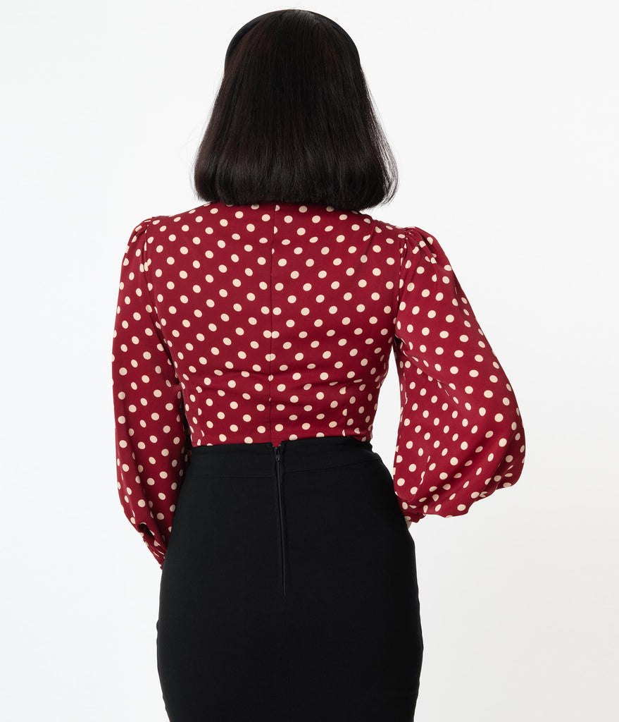 Unique Vintage Burgundy & Cream Polka Dot Gwen Blouse