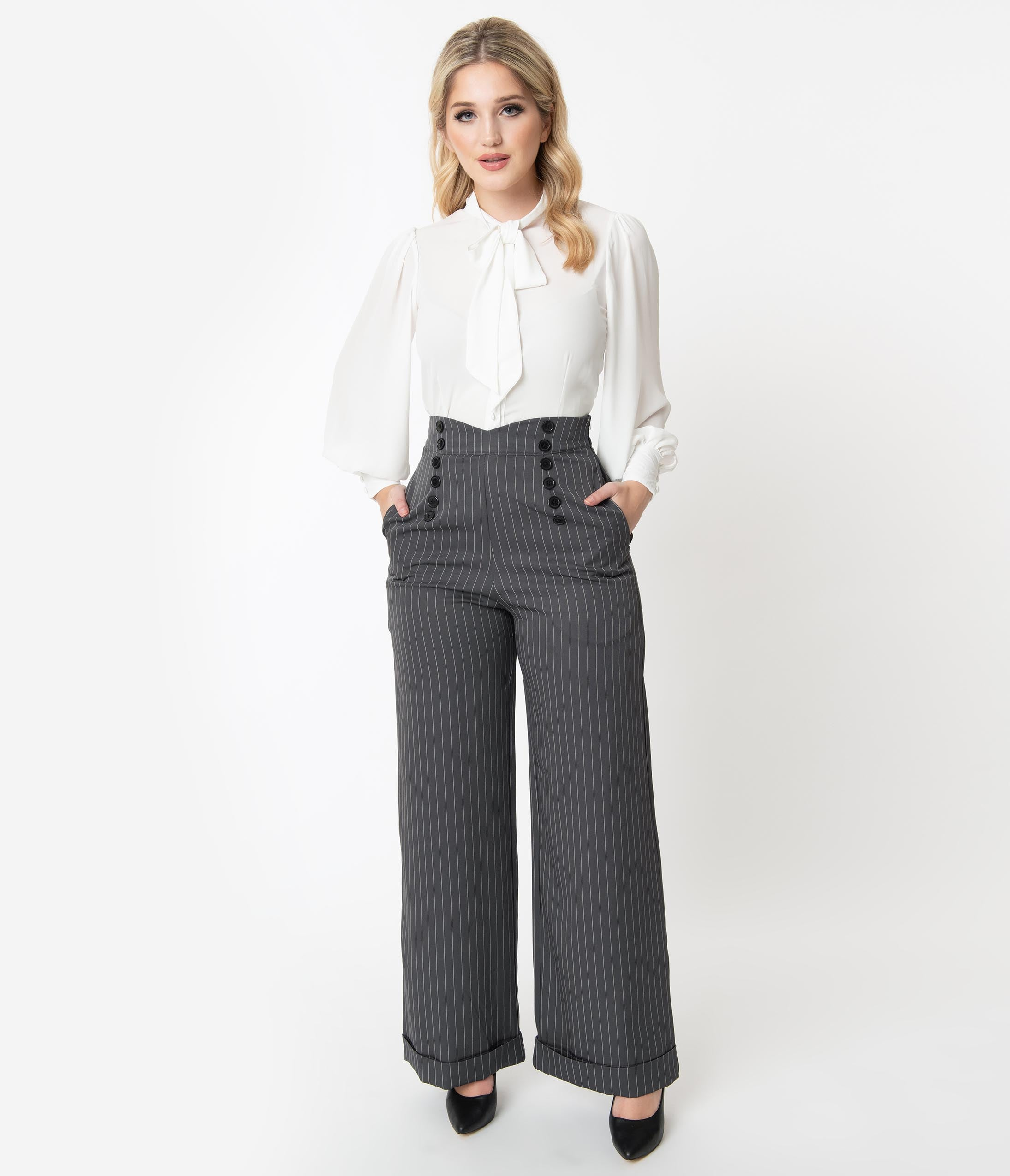 1950s Pants History for Women Unique Vintage 1960S Charcoal Pin Stripe Garland Pants $58.00 AT vintagedancer.com