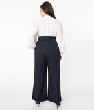 Unique Vintage Plus Size 1960s Navy Pin Stripe Garland Pants