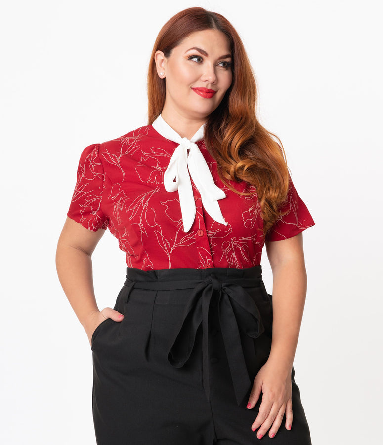 Unique Vintage Plus Size 1940s Red & White Floral Elsie Blouse