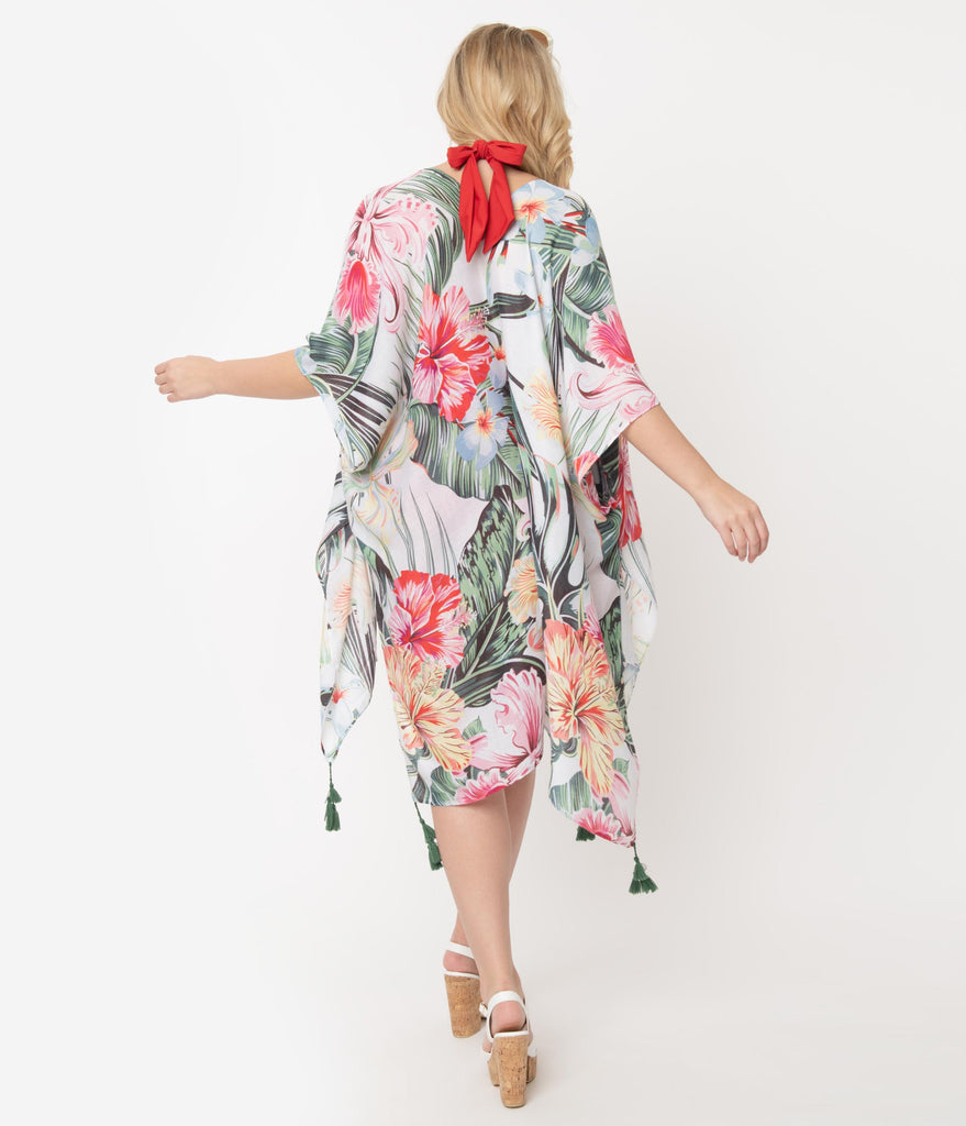White Floral & Palm Print Swim Coverup
