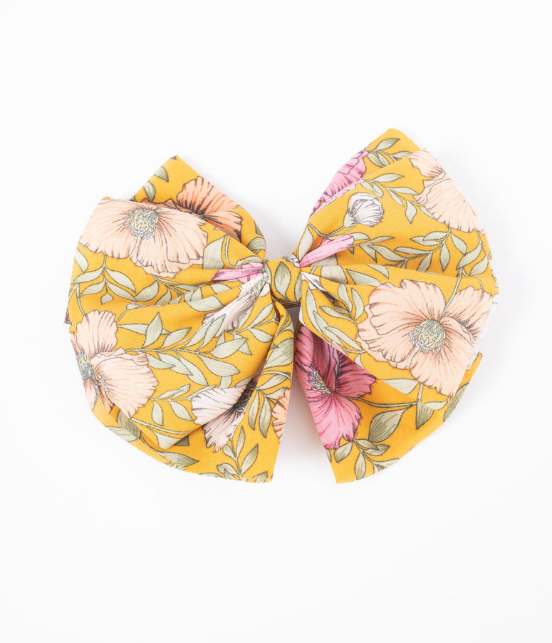 Retro Style Mustard & Pink Floral Fabric Hair Bow