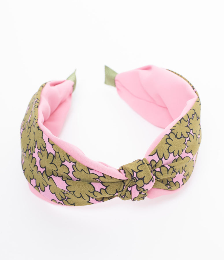 Retro Style Pink & Gold Floral Fabric Knotted Headband
