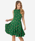 Unique Vintage Green & Strawberry Print Kacey Fit & Flare Dress