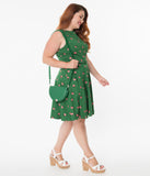 Unique Vintage Plus Size Green & Strawberry Print Kacey Fit & Flare Dress